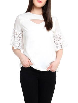 White cotton top with lacy sleeves