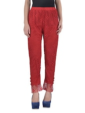 Red Lycra Printed Pants - By