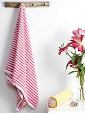 Multicolored Cotton Striped Bath Towel (Set Of 2) - By