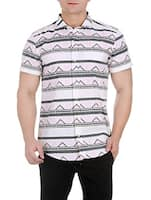 white cotton printed casual shirt -  online shopping for casual shirts