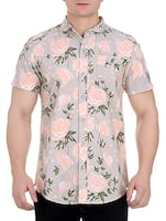 grey cotton floral casual shirt -  online shopping for casual shirts