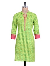 Parrot Green Printed Cotton Kurta - By