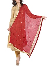 Maroon Chiffon Embroidered Dupatta - By