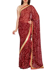 maroon georgette bandhej saree -  online shopping for Sarees
