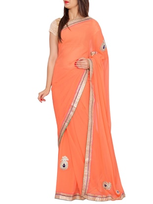 orange georgette gota patti saree -  online shopping for Sarees