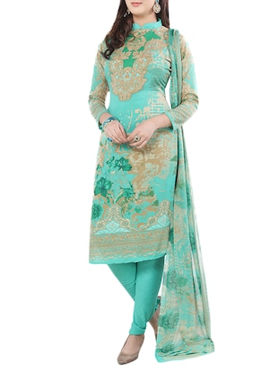 green poly crepe printed churidaar  unstitched suit