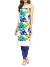 Off White Floral Printed Crepe Kurti - By