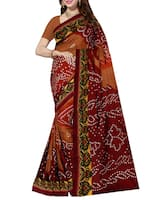 brown silk blend bandhani saree -  online shopping for Sarees