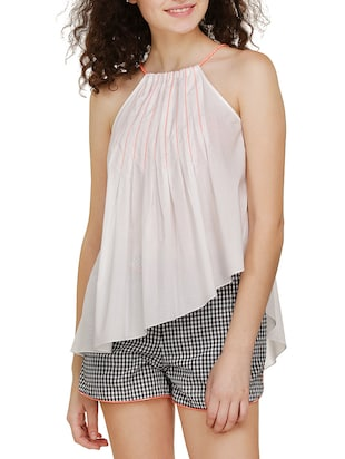 white none assymmetric top -  online shopping for Tops