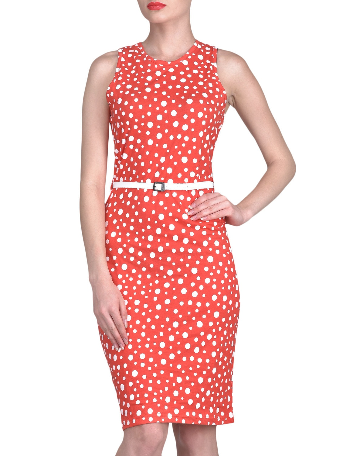 Red Polka Dots Sleeveless Cotton Dress - By