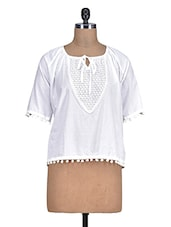 White Pom Pom Lace Cotton Top