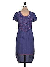 Navy Blue Floral Embroidered Hi-Low Kurta - By