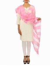 Baby Pink Organza Cotton Dupatta - By