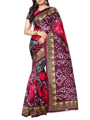 multi colored  cotton silk bandhani saree