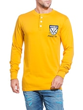 yellow cotton henley t-shirt -  online shopping for T-Shirts