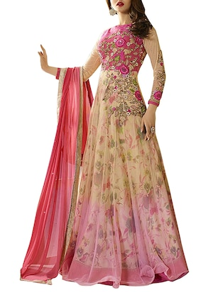 pink net embroidered anarkali semi-stitched suit
