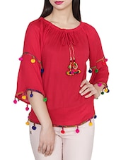 red rayon regular top -  online shopping for Tops