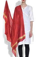 Red Viscose Striped Dupatta - By