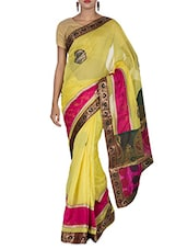 Yellow Cotton And Art Silk Brocade Patch Worked Banarasi Saree - By
