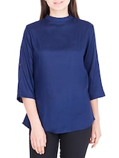 navy blue rayon regular top -  online shopping for Tops