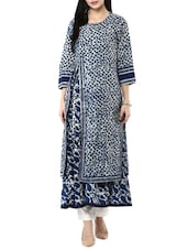 indigo cotton long kurta -  online shopping for kurtas