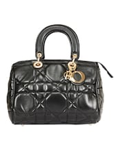 Black Quilted Leatherette Structured Handbag - By