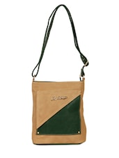 Brown Leatherette Long Messenger Sling Bag - By