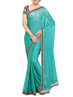 blue georgette bordered saree