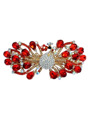 red metal embellished hair clip -  online shopping for Hair accessories