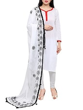 White Plain Embroidered  Dupatta - By