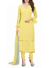 Embroidered Georgette Dress Material(Yellow) - By