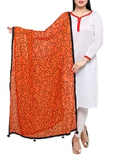 Orange Chiffon Embroidered Phulkari Dupatta - By