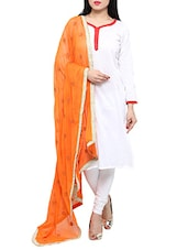 Orange Chiffon Embroidered Phulkari Dupatta - By