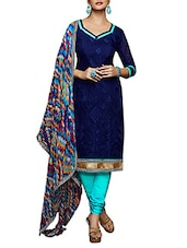 Chanderi Chudidar Dress Material(Dark Blue,Sky Blue) - By