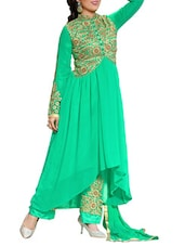 Anarkali Dress Material(Rama) - By