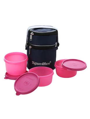 Signoraware Officer Lunch Box with Bag  - 450 ml, 310 ml Plastic Food Storage (Pack of 3, Pink)