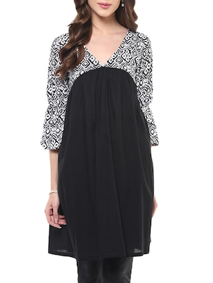 black cotton printed straight kurti