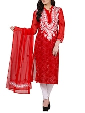 Red Faux Georgette Chikankari Straight Kurta - By