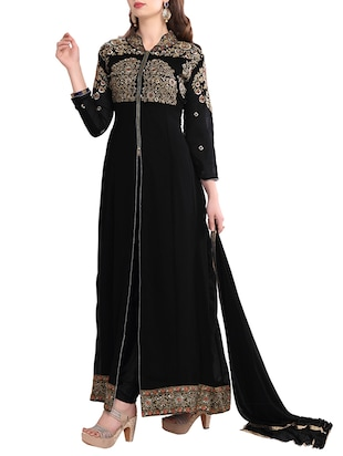 black georgette embroidered straight semi-stitched suit