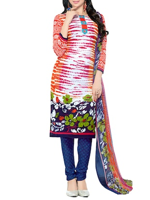multi colored  unstitched  churidaar suit