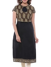 black cotton printed straight kurta -  online shopping for kurtas