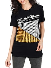 black cotton printed tee -  online shopping for Tees