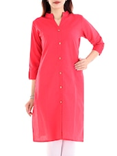 pink cotton straight kurta -  online shopping for kurtas