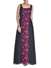 Black Poly Georgette Floral Printed Maxi Dress - By