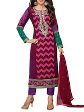 Multicolored Embroidered Faux Georgette Suit Set - By