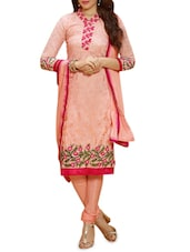 Peach Floral Embroidered Georgette Suit Set - By
