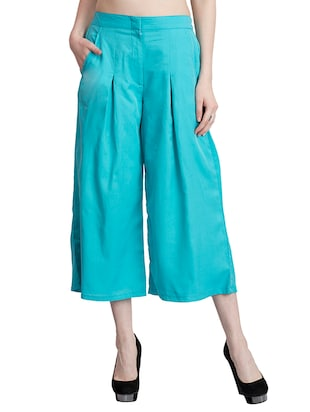 light blue crepe colutte -  online shopping for Capris