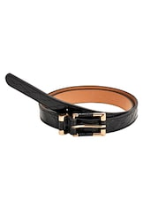 Black Leatherette Textured Belt - By