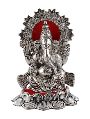 Crafticia Craft Rajasthani Handicraft Oxidised White Metal Silver Sitting Ganesha