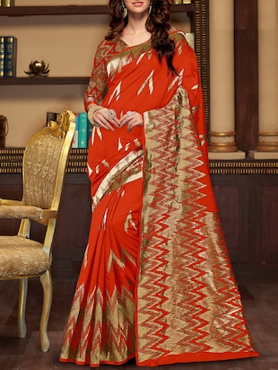 red cotton silk wove saree